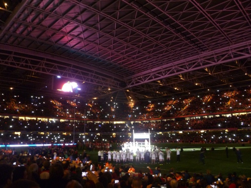 Celebrations at the Millennium Stadium after Wales 30-3 Six Nations championship decider win over England
