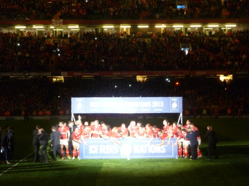 Wales celebrate retaining their Six Nations title